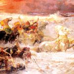 Pharaoh's Army Engulfed by the Red Sea, by Frederick Arthur Bridgman