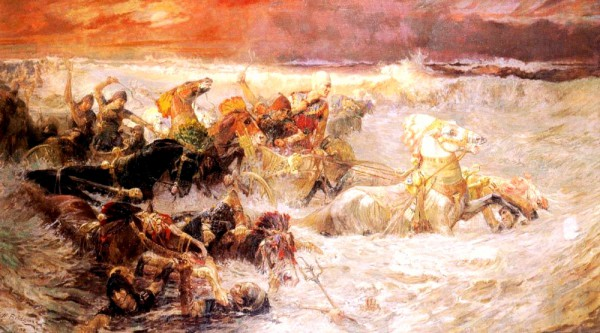 Pharaoh's Army Engulfed by the Red Sea-Frederick Arthur Bridgman
