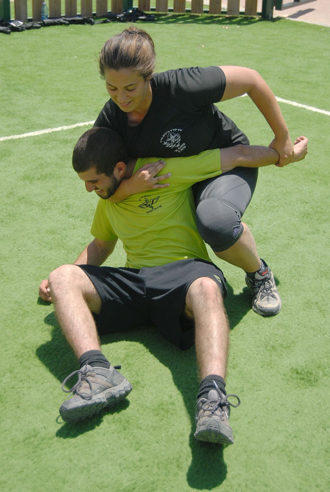Men and women of the IDF's mixed-gender unit practice Krav Maga, an advanced form of hand-to-hand combat developed in Israel. (Photo Credit: Cpl. Judah Ari Gross, IDF Spokesperson's Unit)
