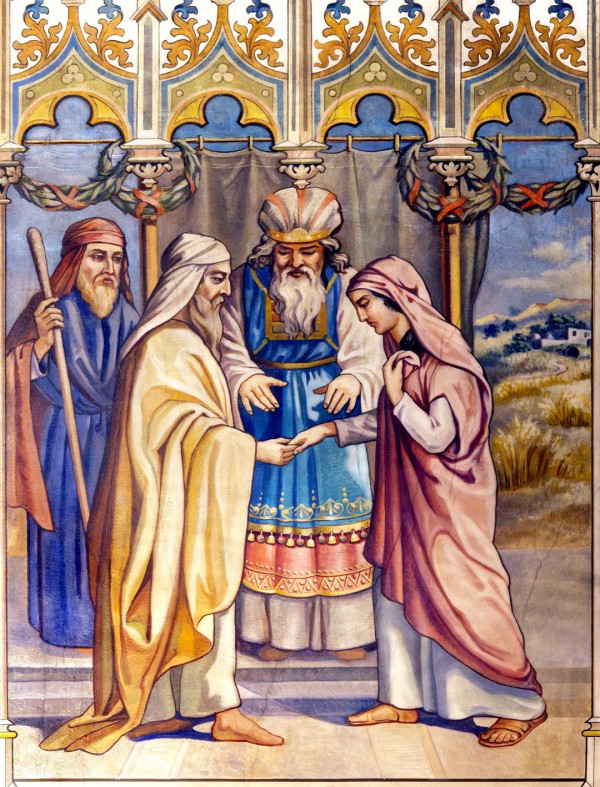 A neo-gothic fresco by Leopard Bruckner of the wedding of Boaz and Ruth.