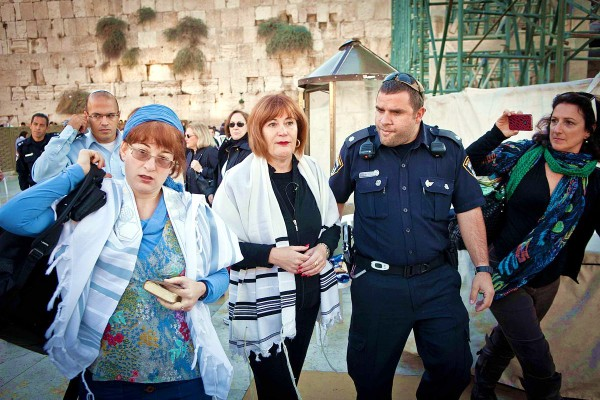 Board member Rachel Cohen Yeshurun (left) and director Lesley Sachs, of the Women of the Wall, were detained by police in 2012 for wearing tallitot at the Kotel (Western Wall) in Jerusalem.