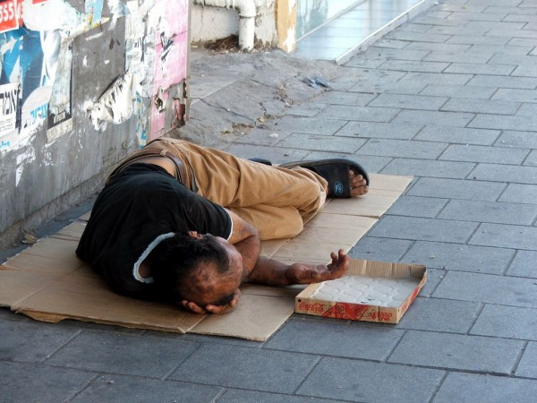 A homeless man in Israel