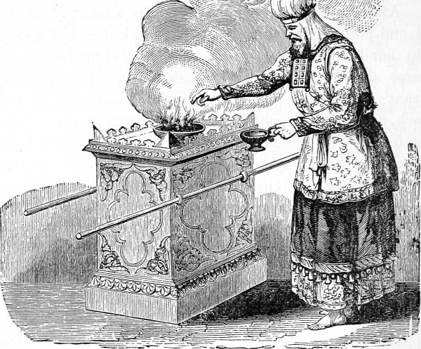 The priest makes an offering (Source: Internet Archive)