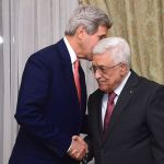 Kerry and Abbas share a private moment in Cairo. (October 12, 2014)