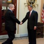 John Boehner shakes Benjamin Netanyahu's hand