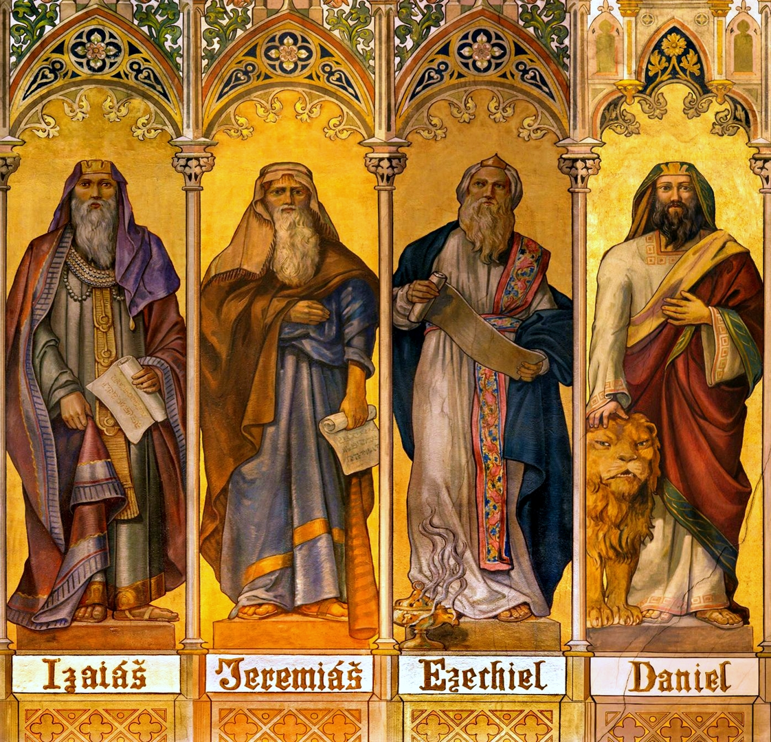 Travna fresco of the prophets Isaiah, Jeremiah, Ezekiel, and Daniel, by Leopold Bruckner