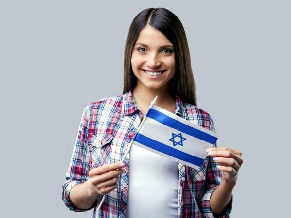 Woman with an Israeli flag