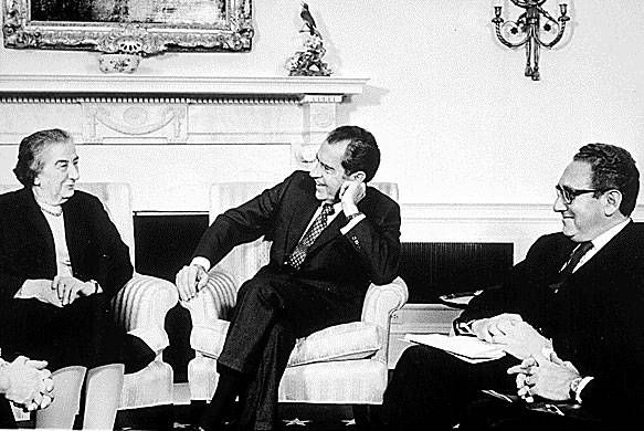 """A photo of Israeli Prime Minister Golda Meir (left), U.S. President Richard Nixon (center), and National Security Adviser and Secretary of State Henry Kissinger at the White House. From the booklet """"President Nixon and the Role of Intelligence in the 1973 Arab-Israeli War."""" (United States government work)"""