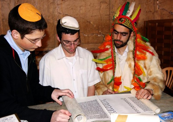 Reading Esther at the Western (Wailing) Wall on Purim