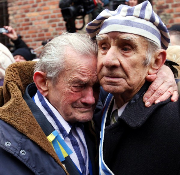 Holocaust survivors still carry the pain of the Shoah. In the above photo, survivors comfort one another as they visit Auschwitz on the 70th anniversary of the liberation of the extermination camp.