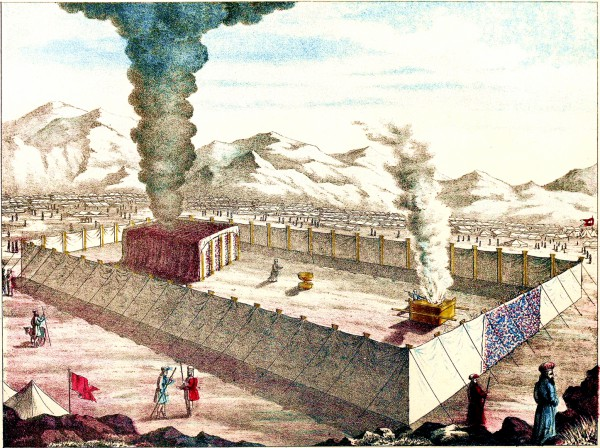 """""""Then the cloud covered the tent of meeting, and the glory of the LORD filled the Tabernacle."""" (Exodus 40:34) (Image from page 10 of the 1874 Jewish Tabernacle and Priesthood)"""