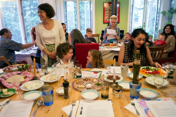 A family Passover Seder (ritual meal)