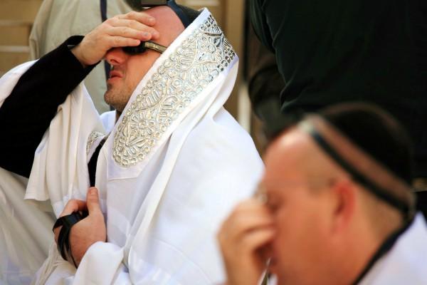Jewish men pray at the Western (Wailing) Wall in Jerusalem.