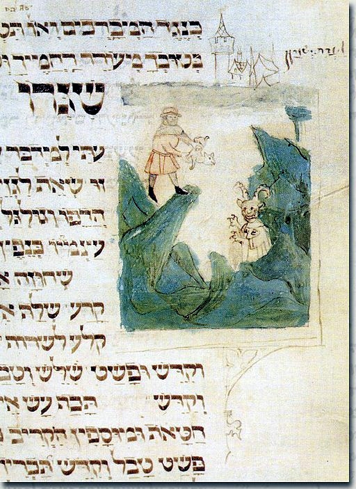 """This illustration from a German machzor (holiday prayer book), created between 1370 and 1400, depicts the scapegoat from the sanctuary above the cliff where it is about to be cast into the abyss to Azazel, who appears as a horned and clawed mountain demon or devil. It is a symbolic returning of sin to the being """"responsible"""" for it."""