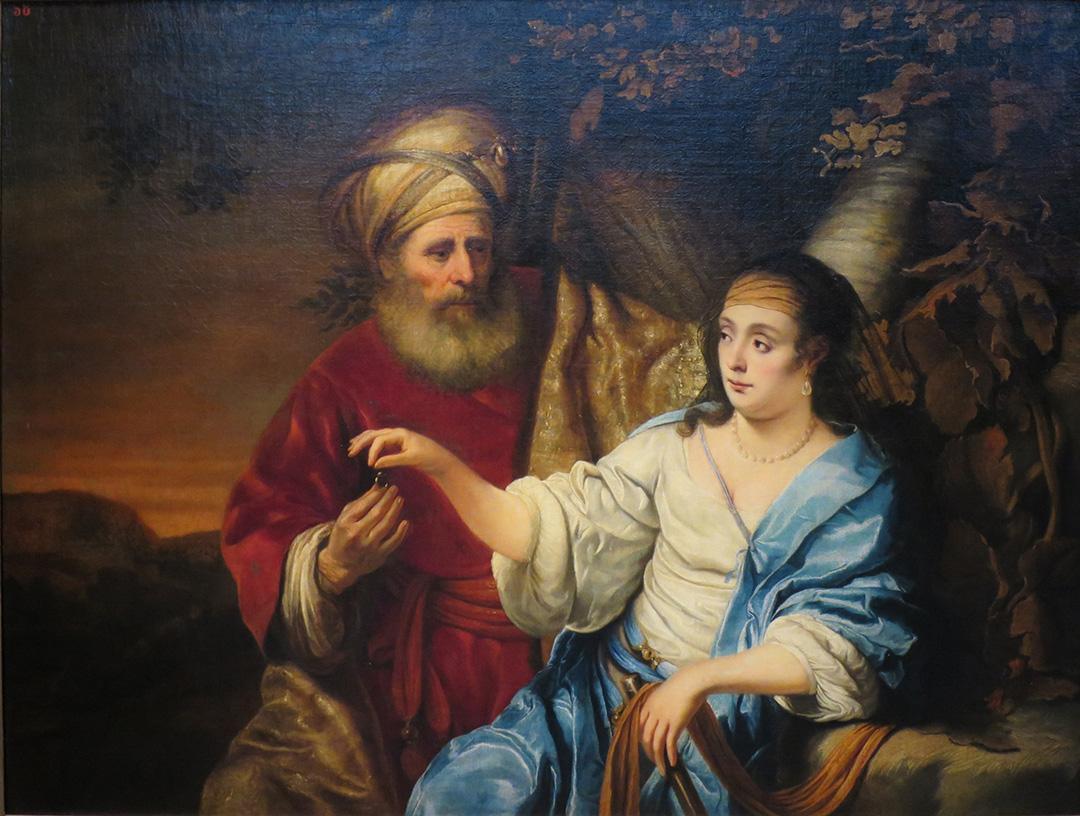 <b>Judah and Tamar,</b>,by Ferdinand Bol (1653) located at Pushkin Museum