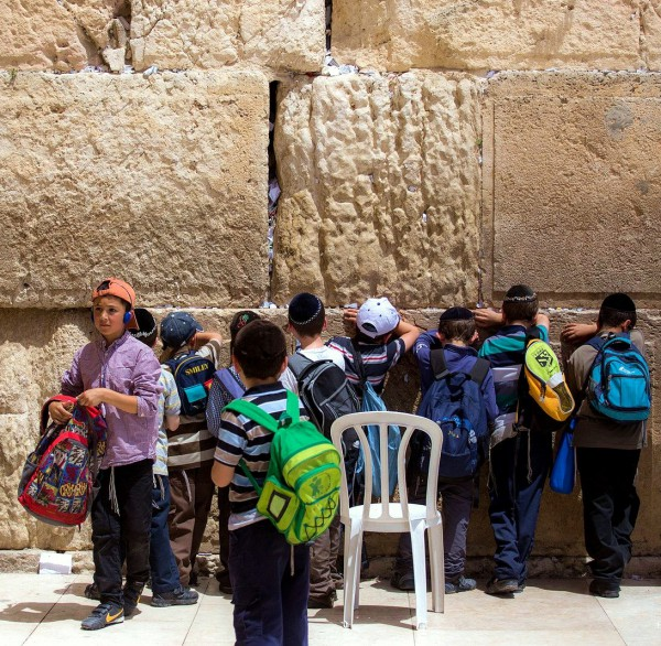 Jewish children, Kotel, Jewish prayer