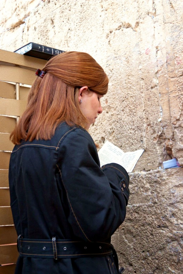 A Jewish woman prays in the woman's section of Jerusalem's Western Wall.