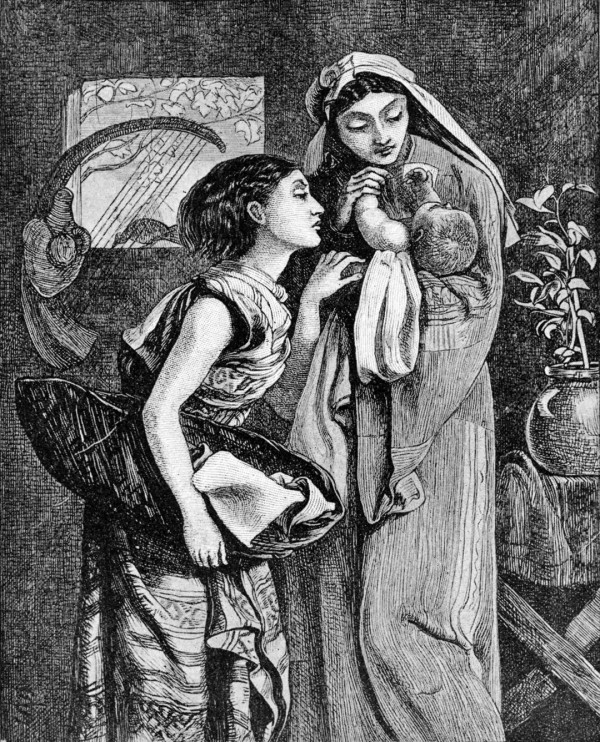Jocheved, Miriam, and Moses (illustration from the 1897 Bible Pictures and What They Teach Us by Charles Foster)