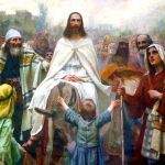 Yeshua enters Jerusalem on a donkey.