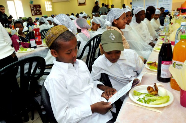 New Ethiopian immigrants attend a model Seder at the Jewish Agency Absorption Center in Mevasseret Zion outside Jerusalem in preparation for their first Passover in Israel.
