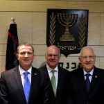 Norbert Lammert poses for a photo in Israel.  (right to left) Israel opposition Chairman, Isaac Herzog, Speaker of the Knesset, Yuli-Yoel Edelstein, President of the German Bundestag, Prof. Dr. Norbert Lammert, President of the State of Israel, Reuven Rivlin, the Prime Minister of Israel, Benjamin Netanyahu.  (GPO photo by Oren Cohen)