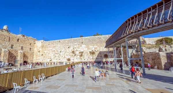 The raised temporary structure on the right side of this photo of the Western Wall Plaza is the Mugrabi Bridge, the only access point for Jews and Christians to the Temple Mount.