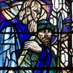 Detail from a stained-glass window featuring Moses and Joshua, by Douglas Strachan, in Glasgow's St. Mungo's Cathedral. (Photo by Fr. Lawrence Lew)