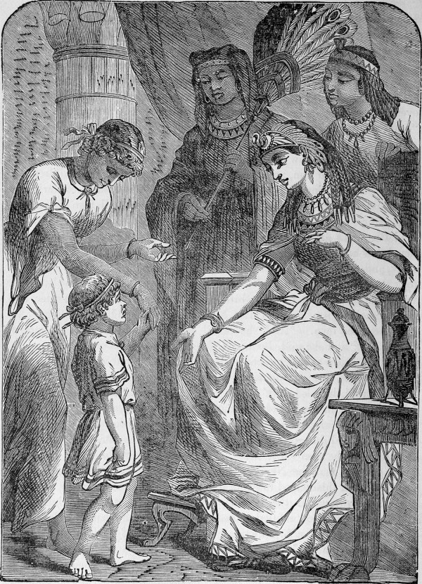 Moses Before Pharaoh's Daughter (The Pictorial Bible and Commentator, 1878)