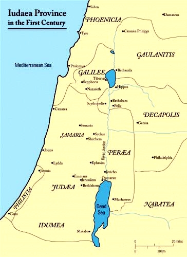Judaea in the First Century (Map by J Woolridge)
