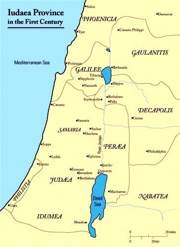 Judaea in the First Century (Map by J Woolridge)
