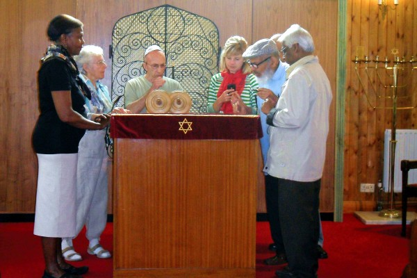 Standing at the bimah in the Ealing Synagogue, UK