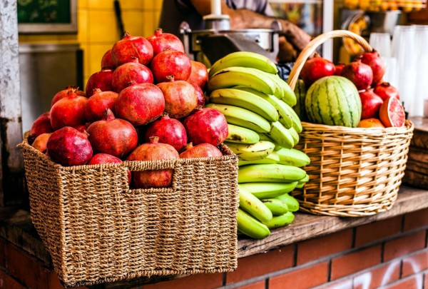 shuk-fruit stall-Israel-pomegranates