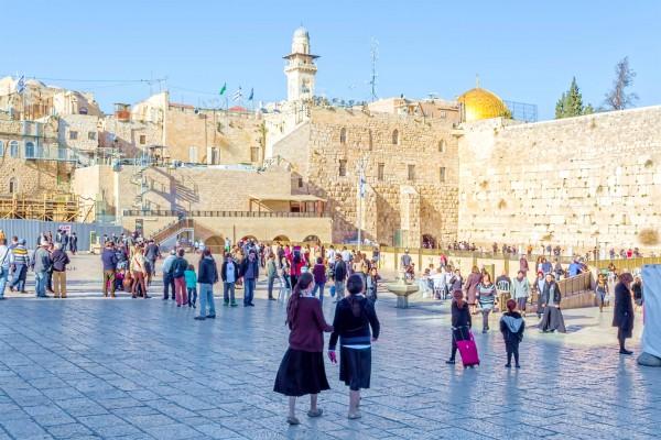 Jewish children at the Western (Wailing) Wall Plaza in Jerusalem.