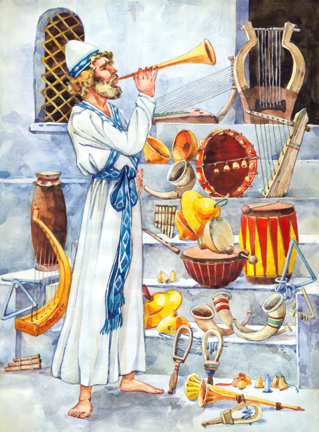 A Kohen glorifies God psalms playing on copper pipe or trumpet.  On  the Temple steps are a lyre, harp, tambourine, cymbals, flute, zither,  trigon, psaltery, and symphony.