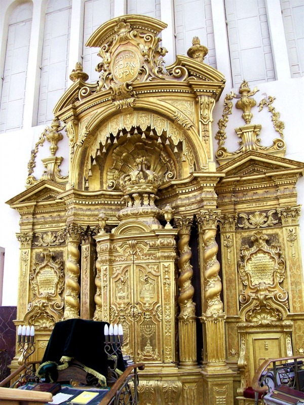 The Aron Kodesh (Torah ark or closet) the Ponevezh Yeshiva (Orthodox Jewish seminary) in Bnei Brak, Israel.