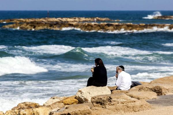 Mediterranean Sea-Israel-Orthodox couple-man and wife