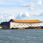 This full size interpretation of Noah's Ark, which was built by Dutch millionaire Johan Huibers, is in Dordrecht, Netherlands.