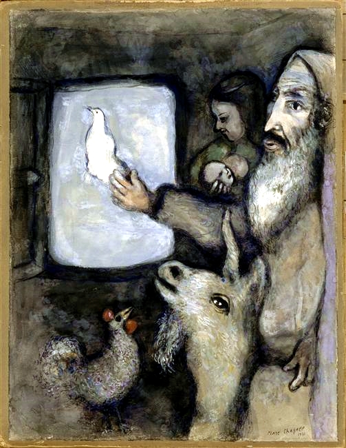 Noah Lets the Dove Through the Ark of the Window, by Marc Chagall