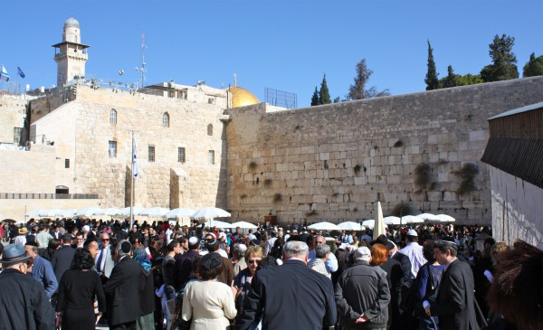 Jewish people gather at the Western (Wailing) Wall for prayer. (Photo by Kyle Taylor)