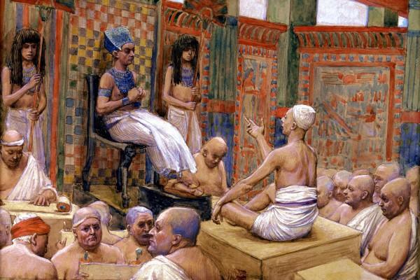 Giuseppe interpreta il sogno di Faraone, da James Tissot