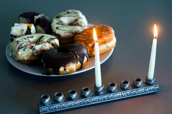 hanukkiah-Hanukkah-sufganiot-donuts