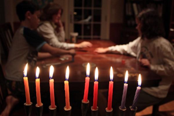 dreidel game-Chanukah-fully lit hanukkiah