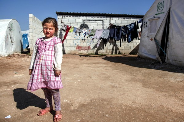 A Syrian girl at the Atma Refugee Camp in Turkey, which hosts over 10,000 refugees.