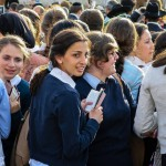New month, Kotel, schoolgirls, prayer books, siddurs
