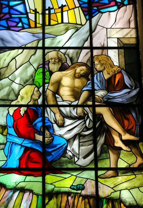 Jesus, stained glass, burial, death, resurrection