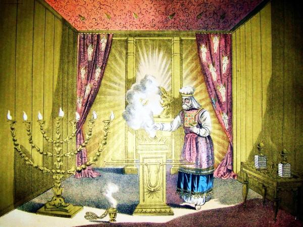 Jewish Temple, menorah, incense