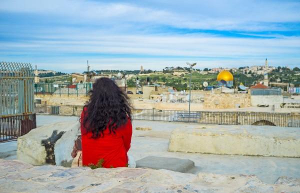 woman overlooks jerusalem