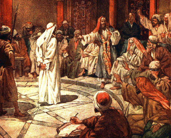 Yeshua on trial before the Sanhedrin - by William HOle