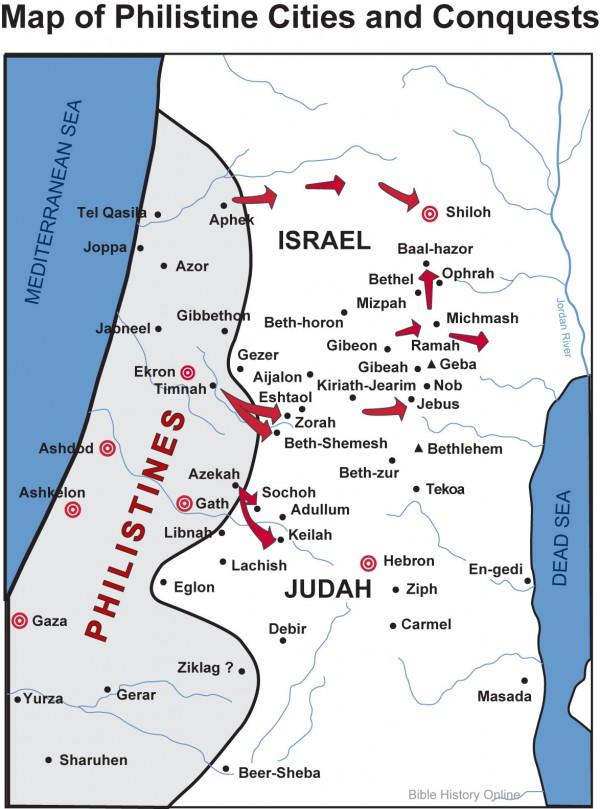 map, philistine cities, eastern Mediterranean coasat