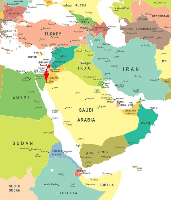 Middle East Map, Israel,